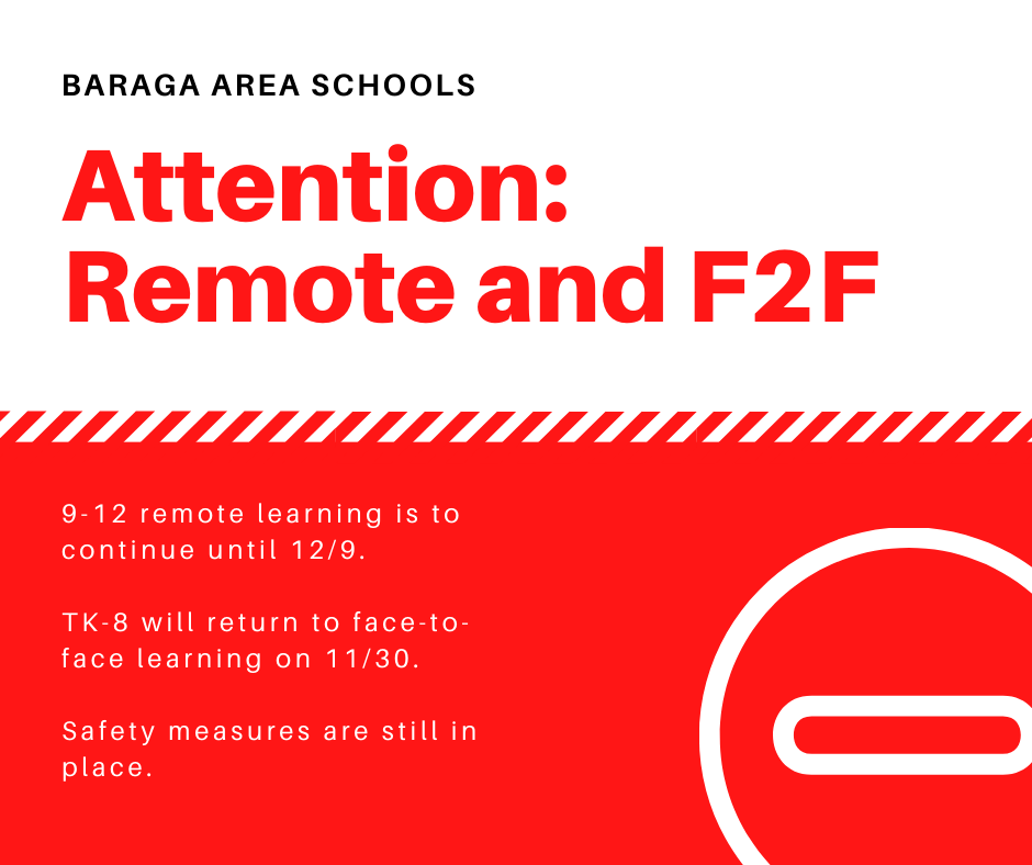 Attention: Changes to Remote and Face-to-Face Learning Dates