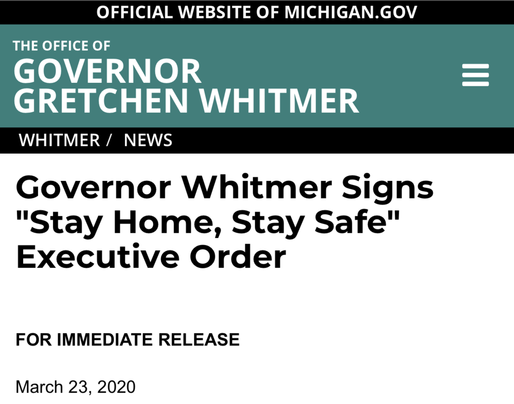 "Gov. Whitmer Signs ""Stay Home, Stay Safe"" Executive Order"