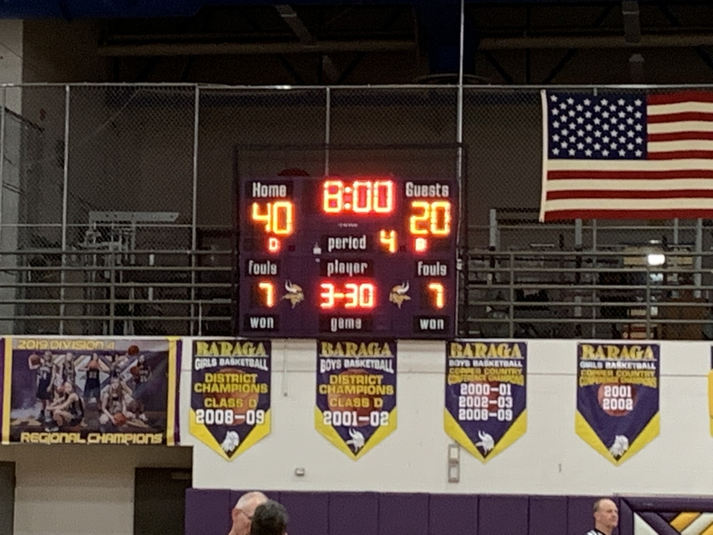 Baraga up 40-20 heading into the final eight minutes of play