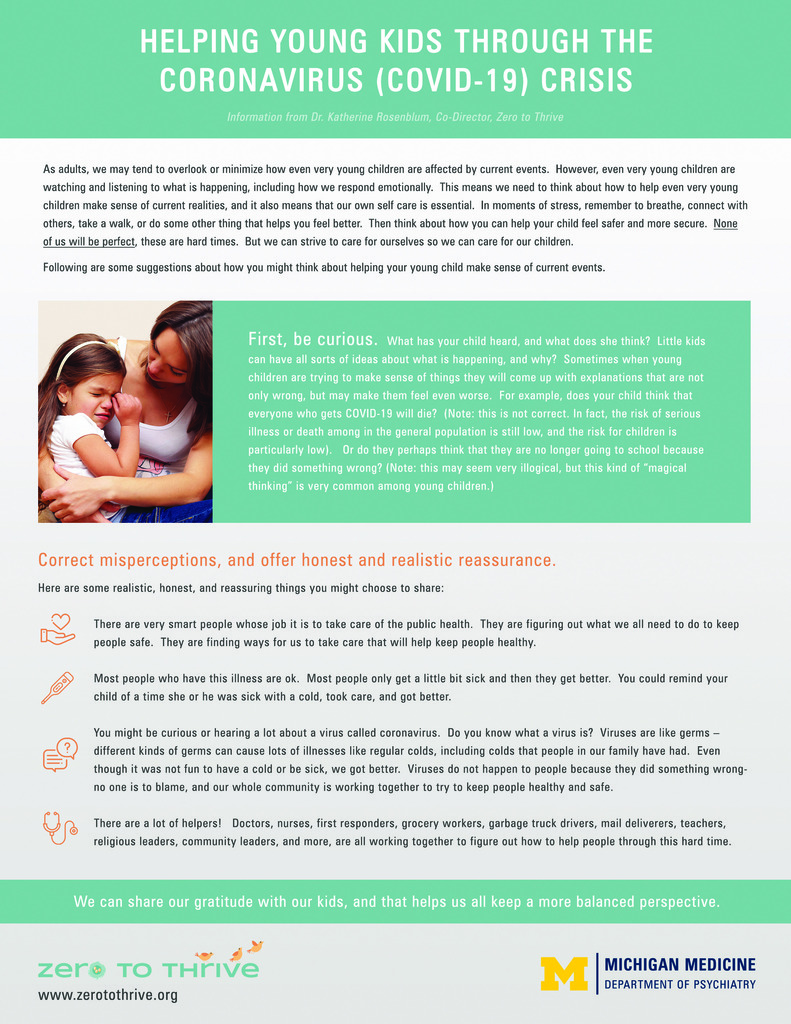 Advice and reassurance to children