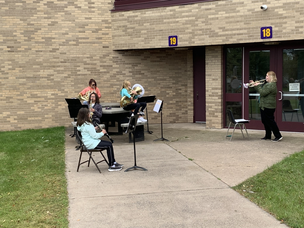 Ms. Nevala makes use of the great outdoors so she can practice with the 6th grade band